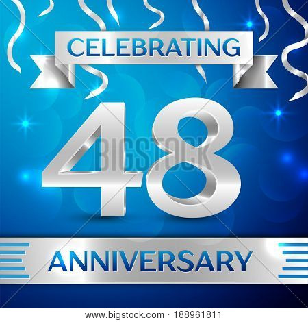 Forty eight Years Anniversary Celebration Design. Confetti and silver ribbon on blue background. Colorful Vector template elements for your birthday party. Anniversary ribbon
