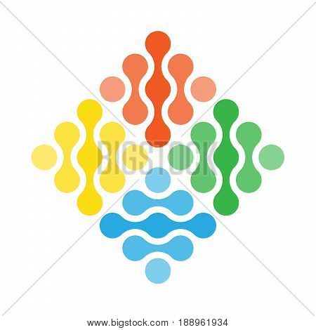 Four elements simple vector symbol. Abstract design concept of fire, air, water and earth in a shape of rhombus divided in 4 squares.