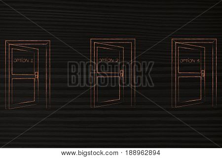 3 Semi-opened Doors Representing Different Life Choices