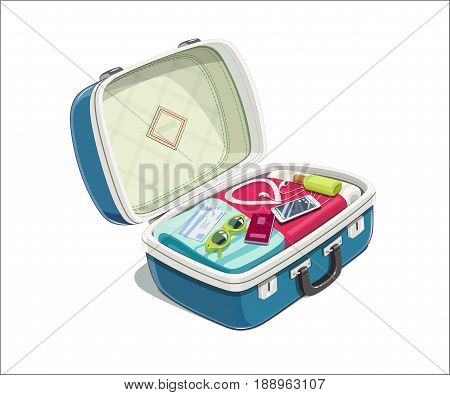 Open suitcase with clothes for travel. Case voyage accessory. Isolated white background. Vector illustration.