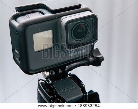 Kharkov, Ukraine - April 6, 2017: GoPro HERO 5 black edition digital action camera on tripod. Compact gadget waterproof , support 4k video, voice controls and is often used in extreme photography