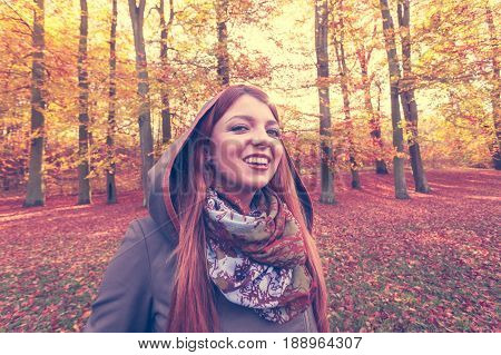 Ginger Hair Girl In The Forest.