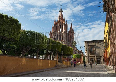 San Miguel de Allende Mexico - May 28 2014: View of the main square and of the San Miguel Church in the historic center of the city of San Miguel de Allende Mexico.