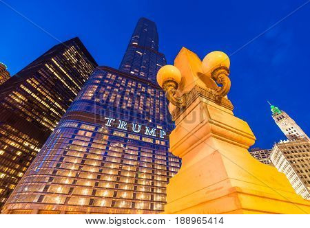 Chicago - March 2017, IL, USA: Trump Tower skyscraper at night. Wide angle view. High rise building of one of the most famous skyscrapers in the city of Chicago