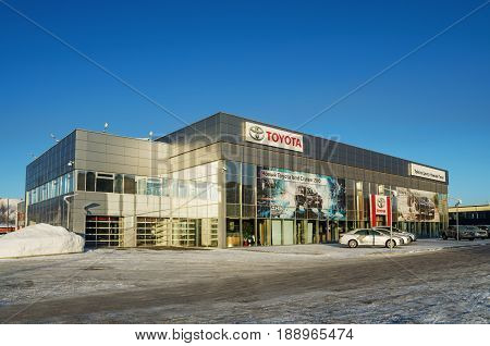 NIZHNY TAGIL RUSSIA - FEBRUARY 13 2016: The building of the showroom cars Toyota in winter day