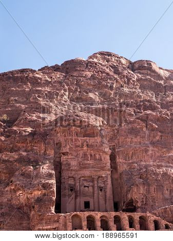 The Urn Tomb, the largest of the Royal Tombs carved into a rock face at Petra in Jordan