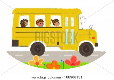 Cartoon clip-art of a school bus with children. Eps10
