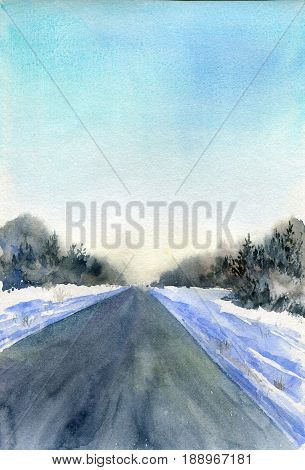 winter watercolor background with snow, sunlight, blue sky and asphalt road track