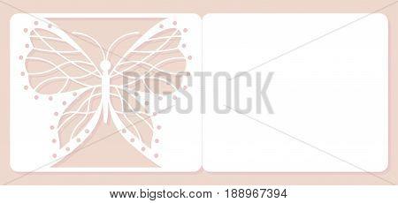 Invitation card, wedding decoration, design element. Elegant butterfly laser cut. Vector illustration.