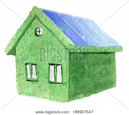 watercolor sketch of green eco house isolated on white background