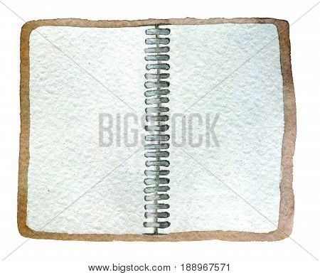 watercolor sketch of open notepad isolated on white background