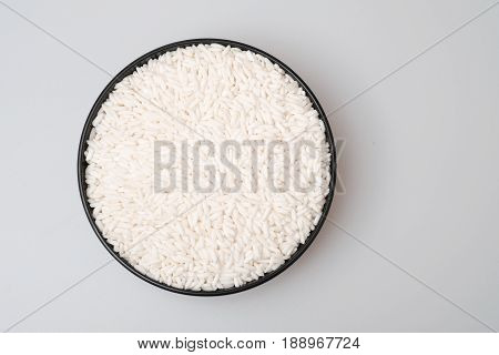 White Glutinous Rice Isolated On White Background.
