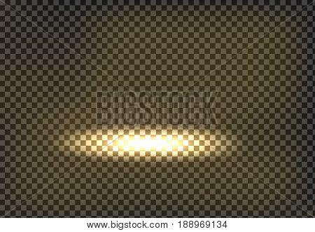 Vector illustration of a golden light spot, spot lit, a glow effect, a flash on a transparent background