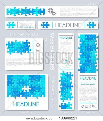Web banner design templates blue puzzle pieces set