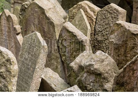 Headstones in the Jewish cemetery in Prague Czech republic.