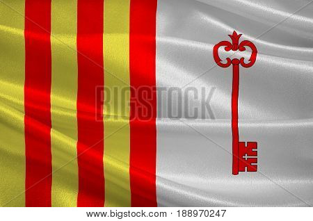 Flag of Barcelonnette is a commune of France and a subprefecture in the department of Alpes-de-Haute-Provence in the Provence-Alpes-Cote d'Azur region. 3d illustration