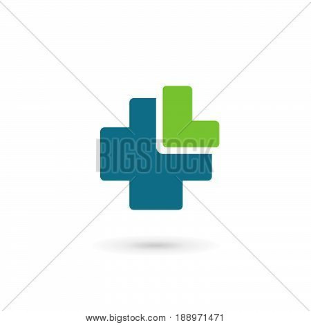 Letter L cross plus medical logo icon design template elements