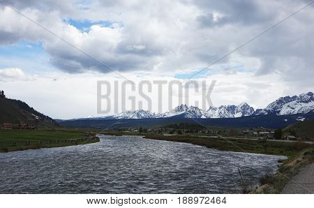 The Sawtooth Mountains and Salmon River in Stanley, Idaho.