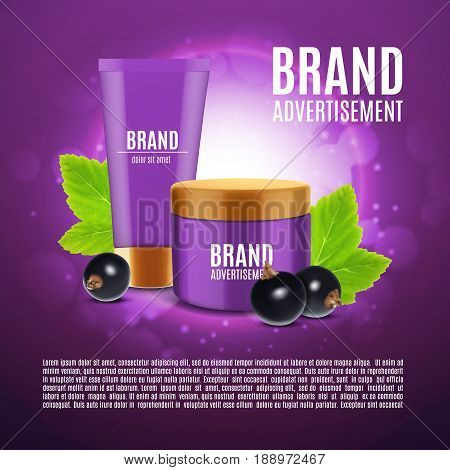 Cosmetic cream ads. Realistic cosmetic bottles with black currant. Black currant cosmetic line concept. Design for ads or magazine. 3d illustration. EPS10 vector