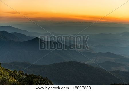 Beautiful row of mountain landscape at dawn