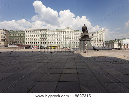 MOSCOW-JULY 20 2010: Sunny street in central Moscow with a big shadow of other building in Moscow, Russia on July 20, 2010