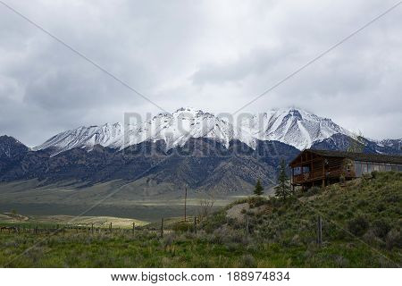 The Lost River Mountains provide a scenic backdrop for ranches in Mackay, Idaho.