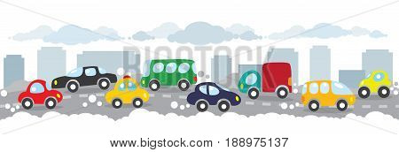 Children vector illustration of small funny cars on the urban polluted city or gassy street road. Horizontal seamless background or pattern.