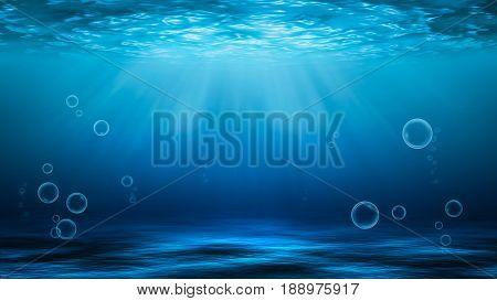 Sunbeams and Sea deep or ocean underwater as a background.