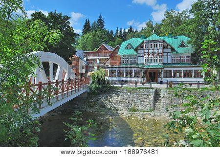 Elbe River in Spindleruv Mlyn in Krkonose Mountains,Czech Republic