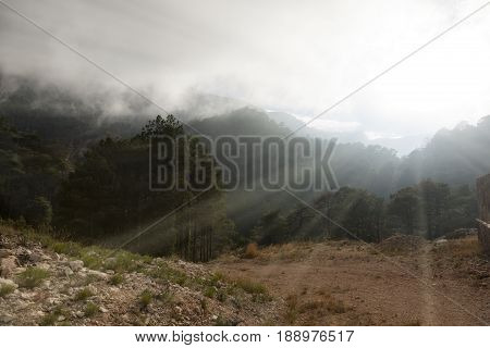 Flare form the sun in te mountain