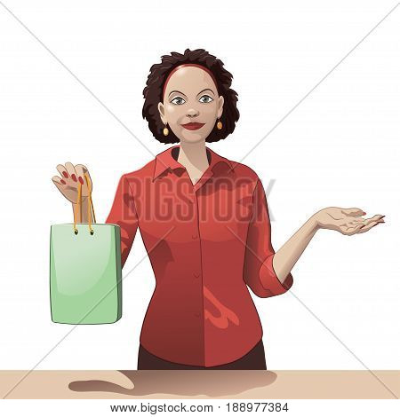Smiling girl sales clerk holding a shopping bag and offers products.