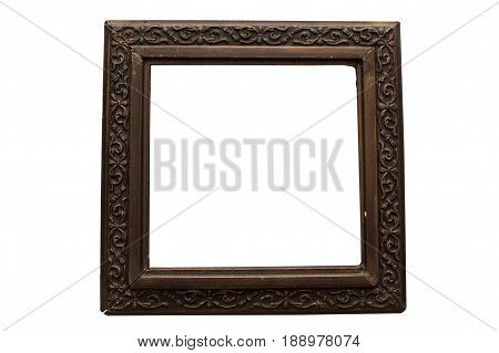 Old damaged wooden frame for paintings isolated on white background.