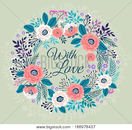 Floral wreath on gray background. Bright colorful spring flowers. Vector floral frame template. Cute retro flowers arranged in the shape of a wreath is perfect for invitations and greeting cards