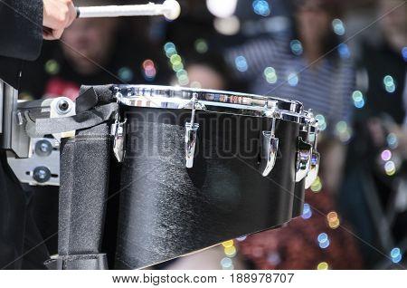 Bristol Rhode Island USA - July 4 2011: Drummer at Fourth of July parade in Bristol Rhode Island