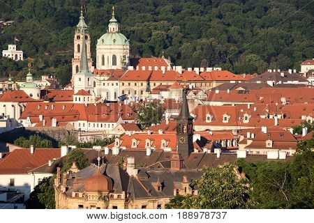 PRAGUE CZECH REPUBLIC - MAY 28 2017: Panorama with the view of Mala Strana and the St Nicholas Church