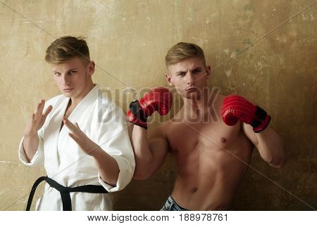 Fighters, Karate Athlete In White Kimono And Strong Boxer