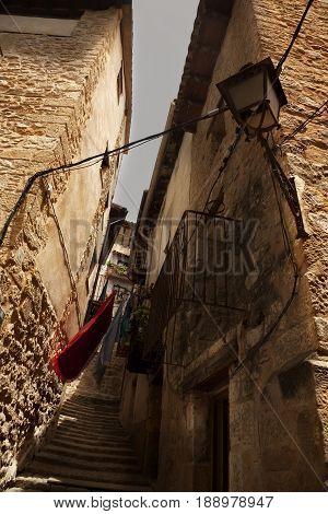 Narrow street in Valderrobres. Teruel province. Spain