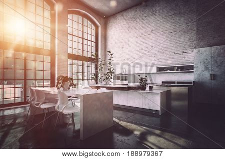 Sunrise in a large spacious modern kitchen diner with a warm glow lighting up a modern dining suite and fitted cabinets and appliances. 3d rendering