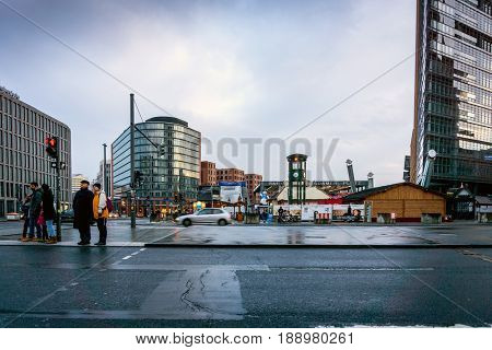 BERLIN, GERMANY- December 14,2017 : Typical Street view in Berlin, Germany. Berlin is the capital of Germany. With a population of approximately 3.5 million people.BERLIN, GERMANY
