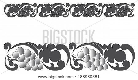 Vector ornamental seamless pattern with grapes and grape leaves