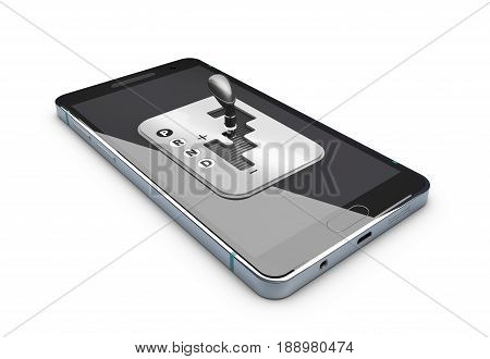 A Smartphone with gear shift, isolated white. 3d Illustration
