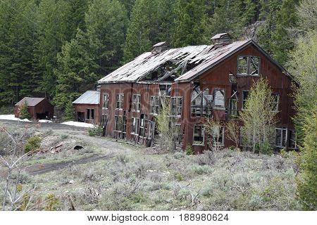 Ruins of White Knob mining camp near Mackay, Idaho.