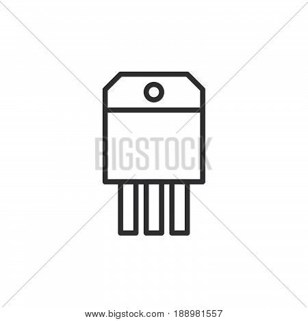 Transistor line icon outline vector sign linear style pictogram isolated on white. Symbol logo illustration. Editable stroke. Pixel perfect