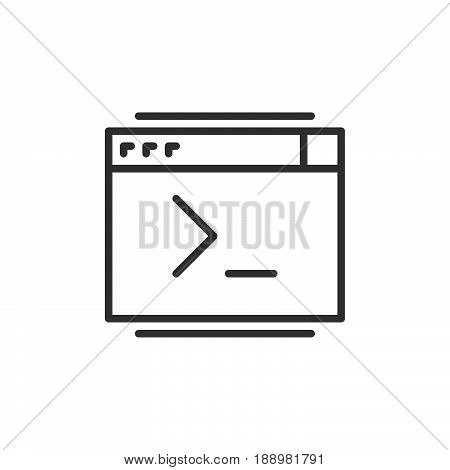 Command console line icon outline vector sign linear style pictogram isolated on white. Symbol logo illustration. Editable stroke. Pixel perfect