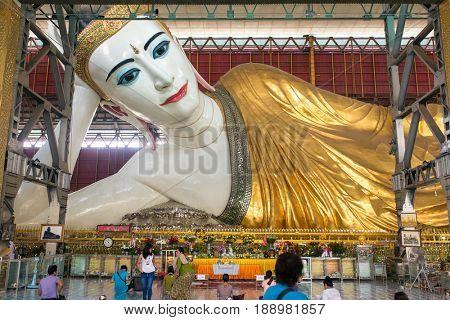 Yangon, Myanmar - September 29, 2016: Chauk Htat Gyi reclining Buddha (sweet eye Buddha) in Yangon, Myanmar