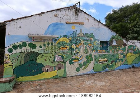 Streetart on a House in Aregua, Paraguay
