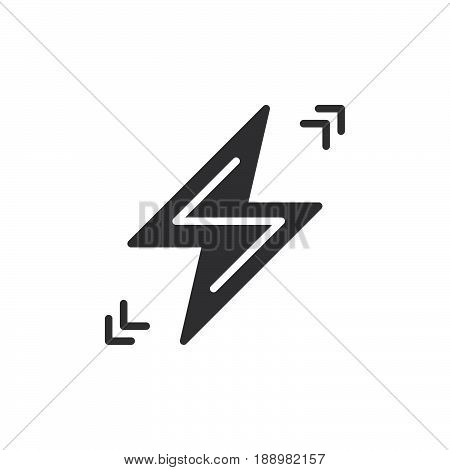 Lightning bolt icon vector filled flat sign solid pictogram isolated on white. Symbol logo illustration. Pixel perfect