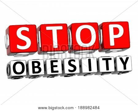 3D Block Red Text Stop Obesity Over White Background.