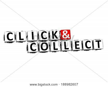 3D Block Text Click And Collect Over White Background.