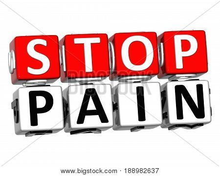 3D Block Red Text Stop Pain Over White Background.